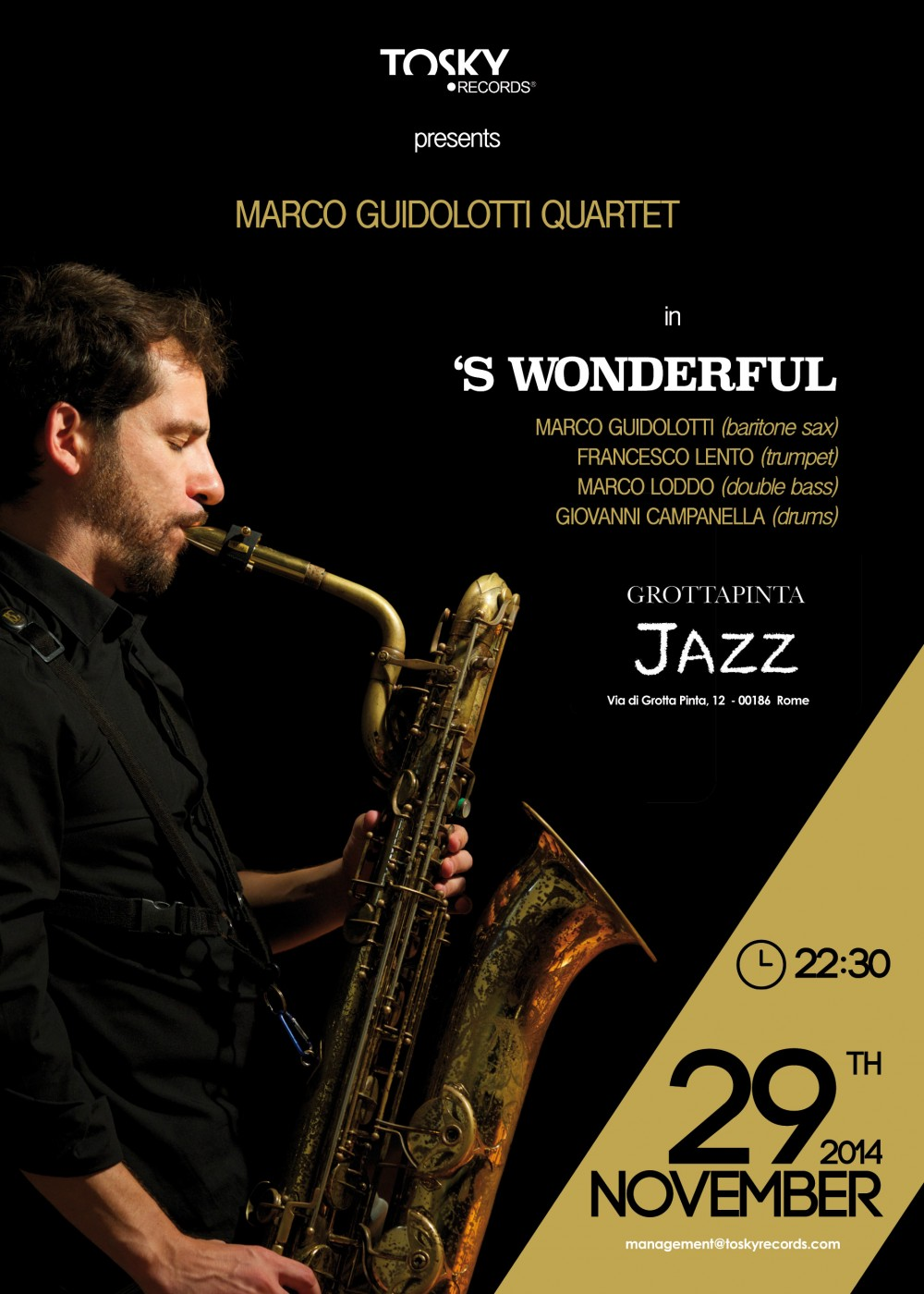 Locandina_29Novembre_Marco Guidolotti Quartet_GrottaPinta